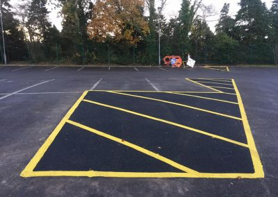 completed tar and line marking in shopping carpark- Prestige Tarmacadam